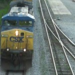 Train Going by from overpass on Bridge St in Murfreesboro Tennessee